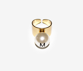 M.E. Big Pearl Helvetica Ring