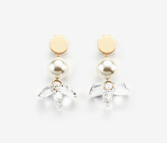Crystal Flower And Pearl Earrings