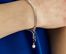 usual drop me pearl chain bracelet