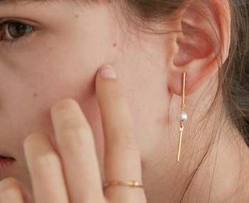 drop bar & pearl earrings