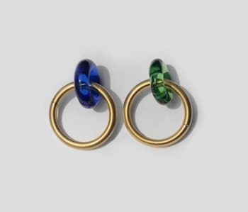Donut Glass and Circle Earrings Green+ Blue