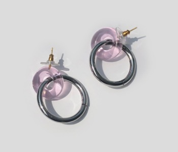 Donut Glass and Circle Earrings  Pink