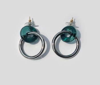 Donut Glass and Circle Earrings  Emerald